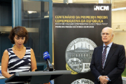 Isabel Castelo Branco, Secretary of State for the Treasury, and Rui Carp, Chairman of the Board of Directors of the INCM