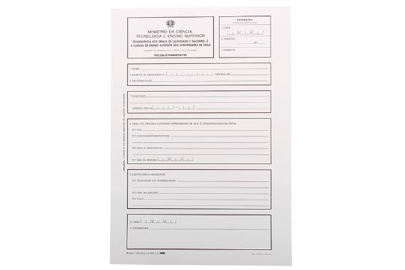 Foto 1 do produto Modelo 526 - Requerimento de Equivalência aos Graus de Licenciado ou Bacharel ou a Cursos de Ensino Superior não Conferentes de Grau
