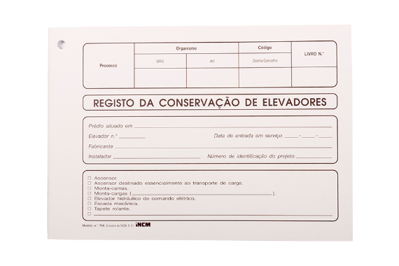 Photo 1 of product Modelo 746 - Registo de Conservação de Elevadores