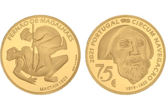 Foto 1 do produto V Centenário da Viagem de Circum-Navegação de Fernão de Magalhães - Mactan 1521 (Ouro Proof)