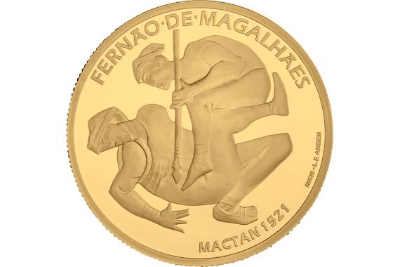 Foto 2 do produto V Centenário da Viagem de Circum-Navegação de Fernão de Magalhães - Mactan 1521 (Ouro Proof)